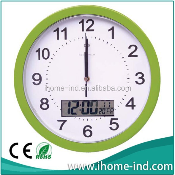 Modern design Radio Control wall clock with LCD display