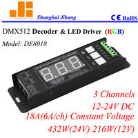 2014 LED rgb dmx512 decoder led driver with 3channels 432w constant current 12~24v DE8018