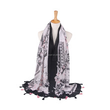 fashion lady summer decorate geometry printed customized factory directly sale pashmina tassel scarf shawl