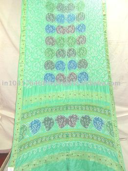 Sea green mulit colour gaji bandhani saree