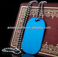 blank blue color aluminum dog tag wholesale with chain