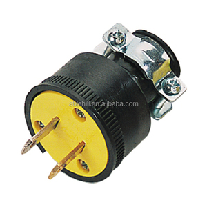 South American Rubber Yellow Electrical Non Grounded Plug Connector Socket