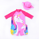Kids Swimsuit Bubble baby Unicorn Girl Baby long sleeve girls swimsuit with hats