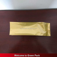 golden color printed heat seal foil lined bags with side gusset