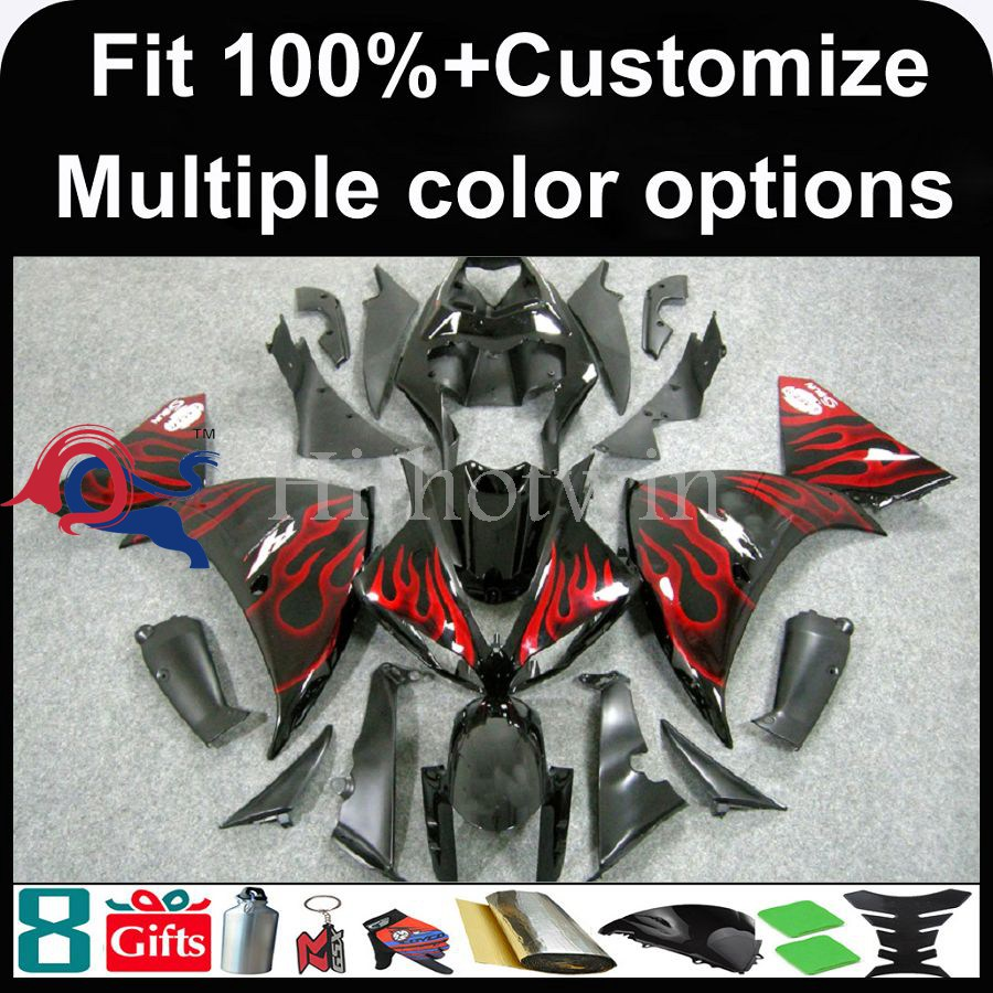INJECTION MOLDING panels 2009 2010 <strong>2011</strong> 2012 YZFR1 black red flame Fairing For yamaha YZF-<strong>R1</strong> 2009 2010 <strong>2011</strong> 2012 Bodywork Fairin