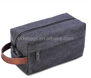 Canvas Travel Toiletry Bag, Dopp Kits with Genuine Leather Handle