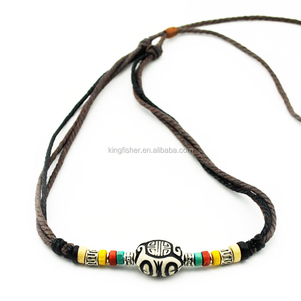 Colorful wood beads resin pendant adjustable cord necklace for unisex