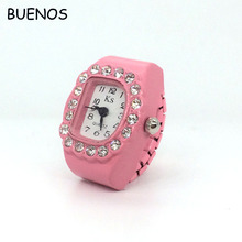 Stylish Simple Lady Diamond Elastic Strap Finger Ring Watch