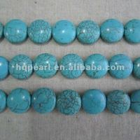flat turquoise beads, synthetic turquoise, howlite coin turquoise beads