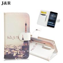 J&R Brand Leather Case For Alcatel One Touch POP C9 Dual 7047 7047D Flip Cover Vertical Magnetic phone bag 9 Colors