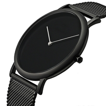 New design simple custom logo Stainless Steel mens Wrist Watch in black