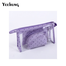 3 Pieces Transparent PVC Toiletry Bag Women Small Waterproof Neceser Portable Travel Suit Cosmetic Bag