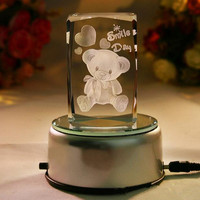 3D Laser engraving custom cube carton image k9 Crystal glass cube block for souvenir & gifts