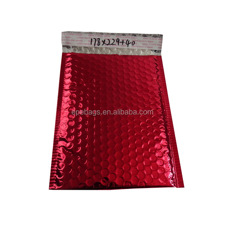 large self seal custom printed RED colored metallic foil bubble mailer padded envelope bubble bags