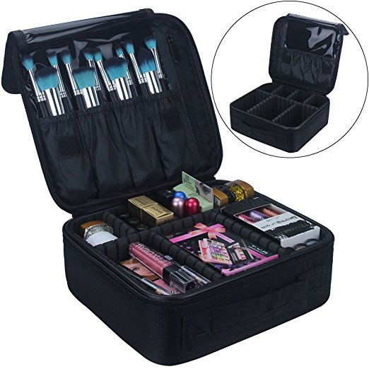 Travel Train Case Organizer Portable Artist Storage Makeup Cosmetic Bag with Adjustable Dividers Brushes Toiletry accessories