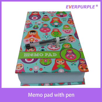 High quality colorful printing softcover notepad,sticky note pad,memo pad with pen
