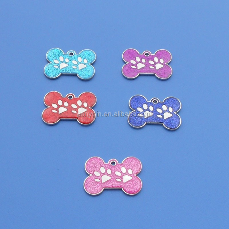 hot sale customized two paw logo bone shape glitter pet name tags/ dog tag/ pet id tags for wholesale