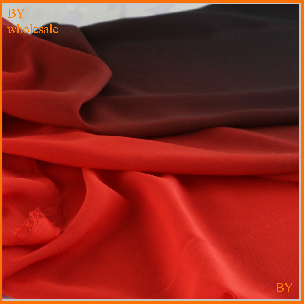 100d chiffon black red 2 tone material for dress skirts <strong>fashion</strong> ombre chiffon fabric