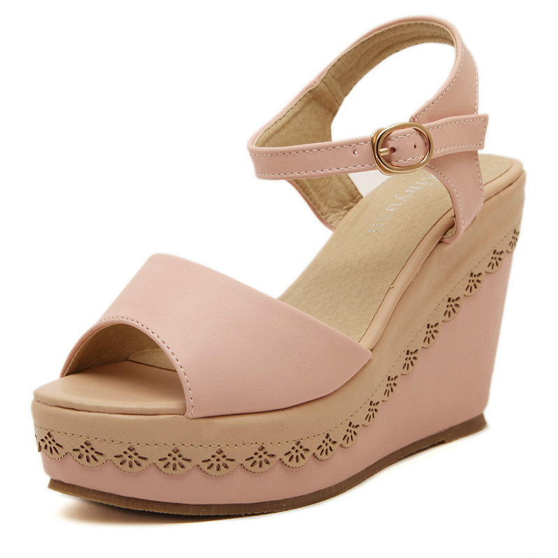 Ladies Shoes 2015 High Heels Sandals Summer Women's Open Toe Buckle Wedges Platform Beach Shoes Big Small Size Free Shipping