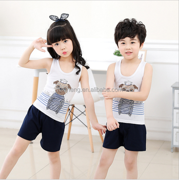 2019 New Summer Children Cotton Vest Set