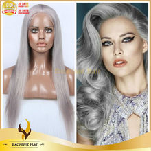 Natural looking Grey human hair wig Hollywood style full lace wig