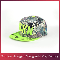 Colorful Hip Hop Flat Panel Snapback Cotton Hat 3D Embroidered Label Logo Style Cap For Men
