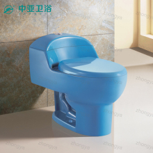 Chaozhou factory siphonic colored toilet sanitary one piece ceramic toilet in blue