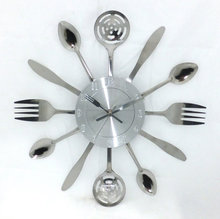 Kitchen Wall Clock 3D Removable Modern Creative Cutlery Kitchen Spoon Fork Wall Clock