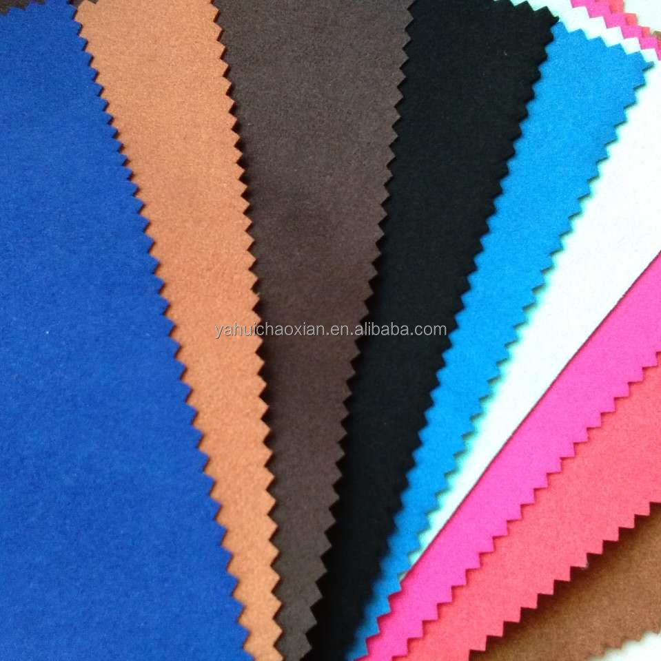 Nice quality double face fabric suede microfiber leather for gloves