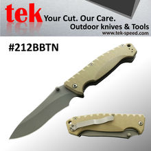 Bead blasted Drop point titanium coated survival folding pocket knife