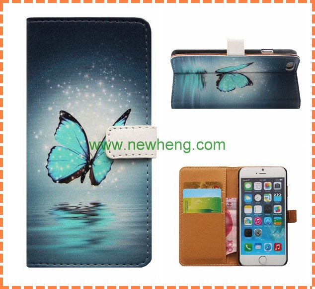 For iphone 6 6s PU Leather Wallet Painted Flip Cell phone case