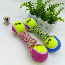 Pet Dog Cotton Rope Knot Toys With Double Tennis Balls