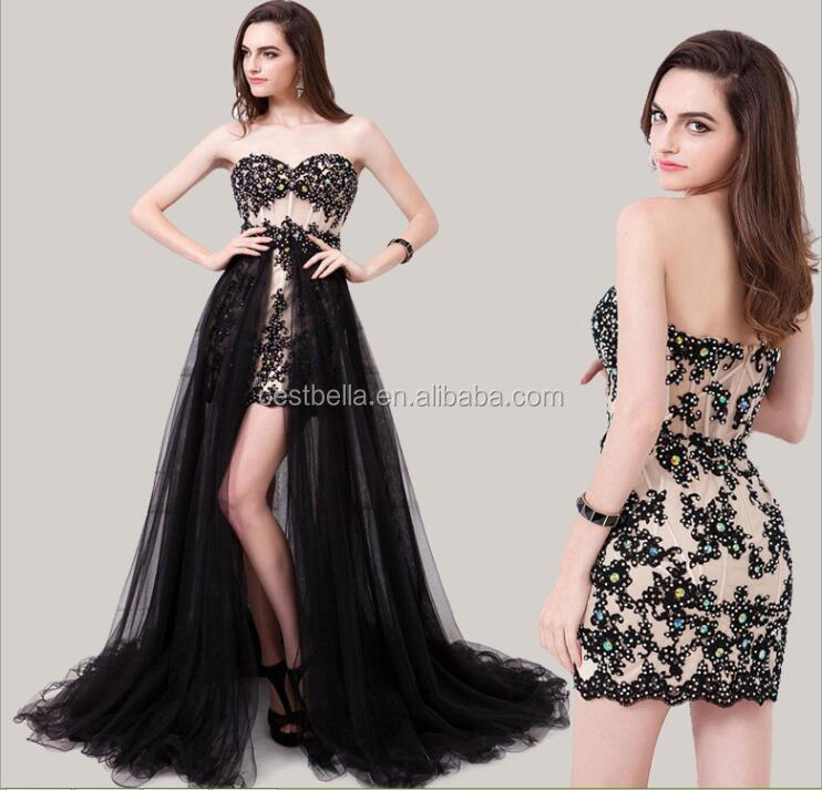 Detachable Skirt See Through Sex Party Dress Evening Dress Short