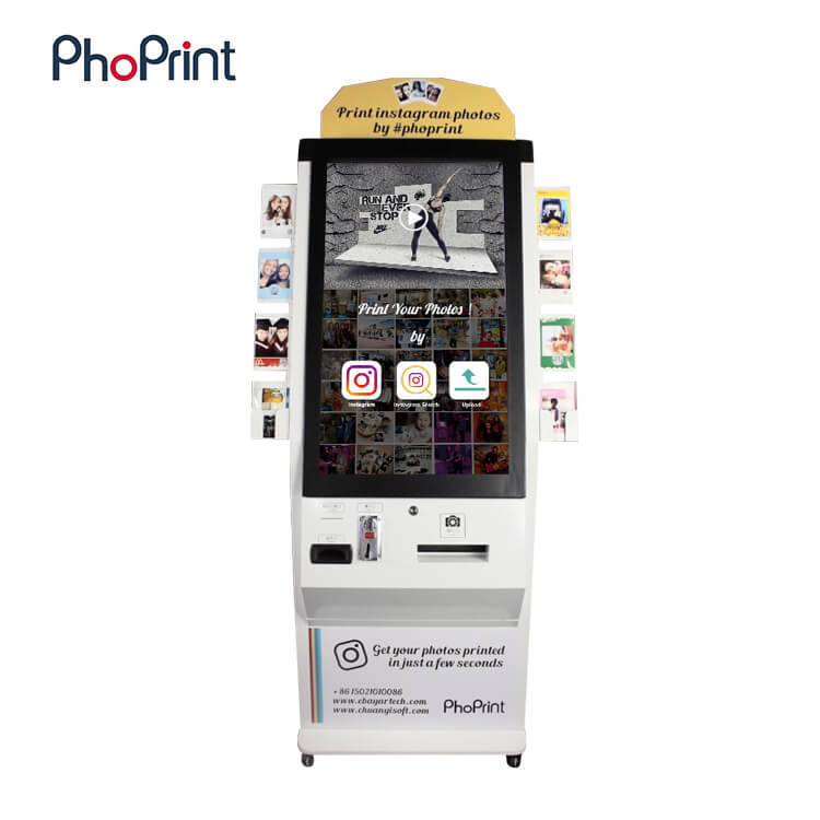 Dollar bill acceptor payment terminal kiosk instant photo printing small business vending machine