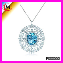 NEW PRODUCT 2015 ROYALTY LARGE BLUE SAPPHIRESTONE PENDANT IN 14K WHITE GOLD,PAVE DIAMOND FILIGREE PENDANT FOR SEXY LADY