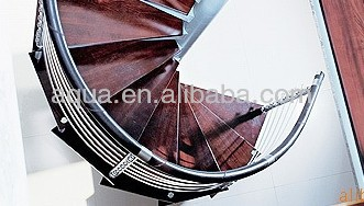 Indoor stainless steel balustrade spiral stair with wooden tread