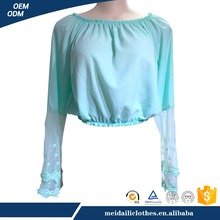 Guangzhou Meidaili Clothing OEM Good Quality Autum Women Casual Long Sleeve Round Neck Chiffon T Shirt