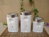 Ceramic kitchenware stainless steel canister