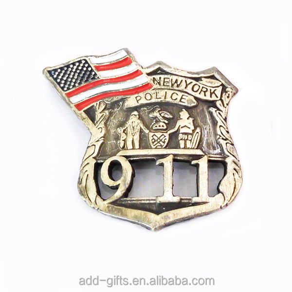 cutout 911 alloy lapel pin badge with USA flag