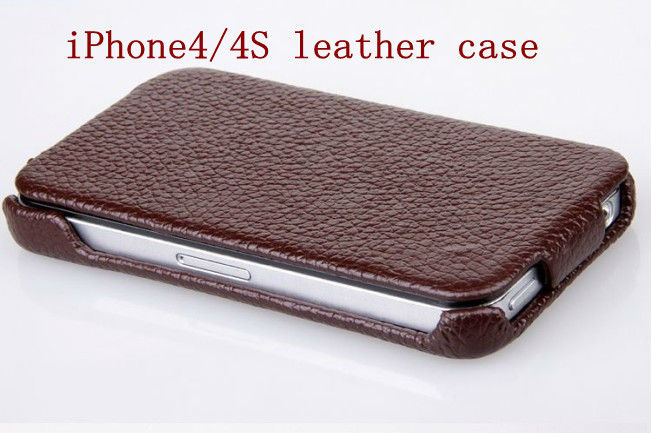 leather case with belt clip for iphone 4 -Pink/Brown/Black/Red color with Paypal accept