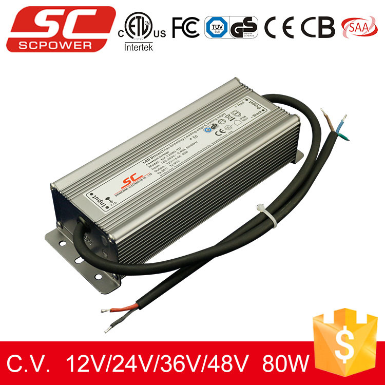 SC LED driver Triac constant voltage 6.66A 80W 12v dimmable led power supply