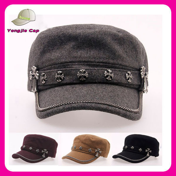 wholesale high quality 100% wool flat top outdoor caps ladies military caps