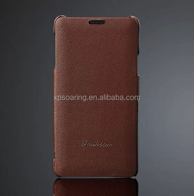 Genuine lychee flip leather case pouch for Samsung Galaxy Note 4, Flip real leather case for Samsung N9100
