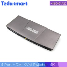 4 port USB KVM Switch HDMI 4 in 1 out HDMI KVM Switch with Auto Scan Supports 4k with USB2.0 Port IR Remote Control