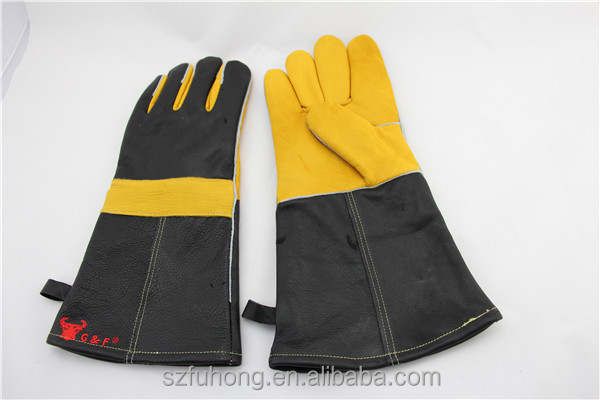 Fire-resistant cow leather <strong>gloves</strong> BBQ <strong>gloves</strong> welding <strong>gloves</strong>