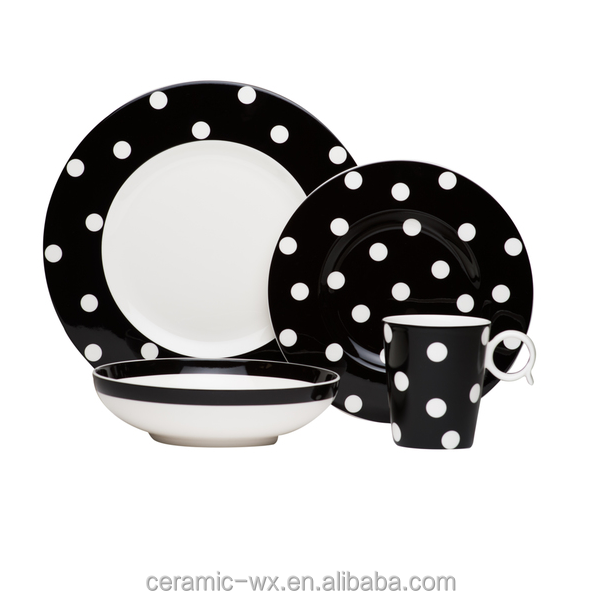 Elegant 16pcs Ceramic Crockery Dinner Set With Black And White Dots For Wal-Mat