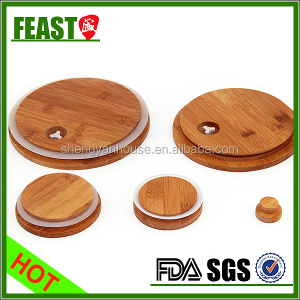 Natural beauty bamboo lid wooden lid for glass storage jar glass water bottle