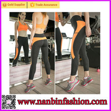New style orange and black 90% polyester 10% spandex yoga pants wholesale