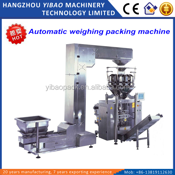 Automatic plantain chips packaging machine with multihead weigher
