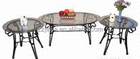 Hot sale antique style round shape glass coffee table(1+3)